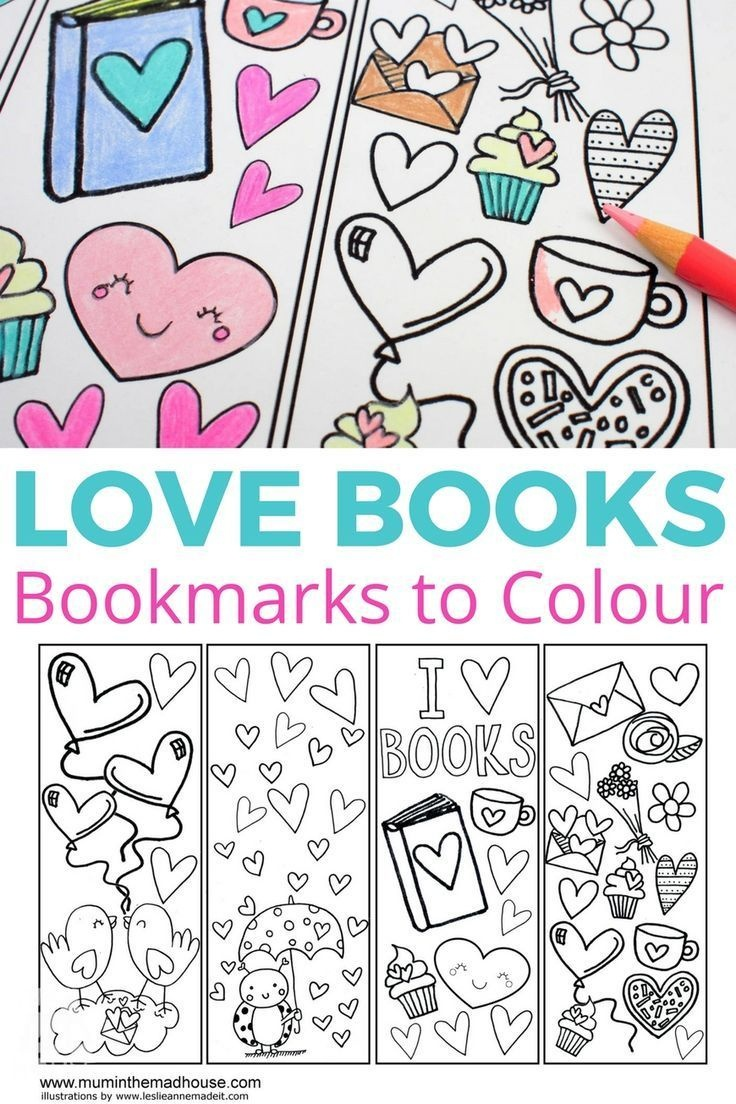 Love Books Free Colouring Bookmarks | Coloring Activities - Free Printable Valentine Bookmarks