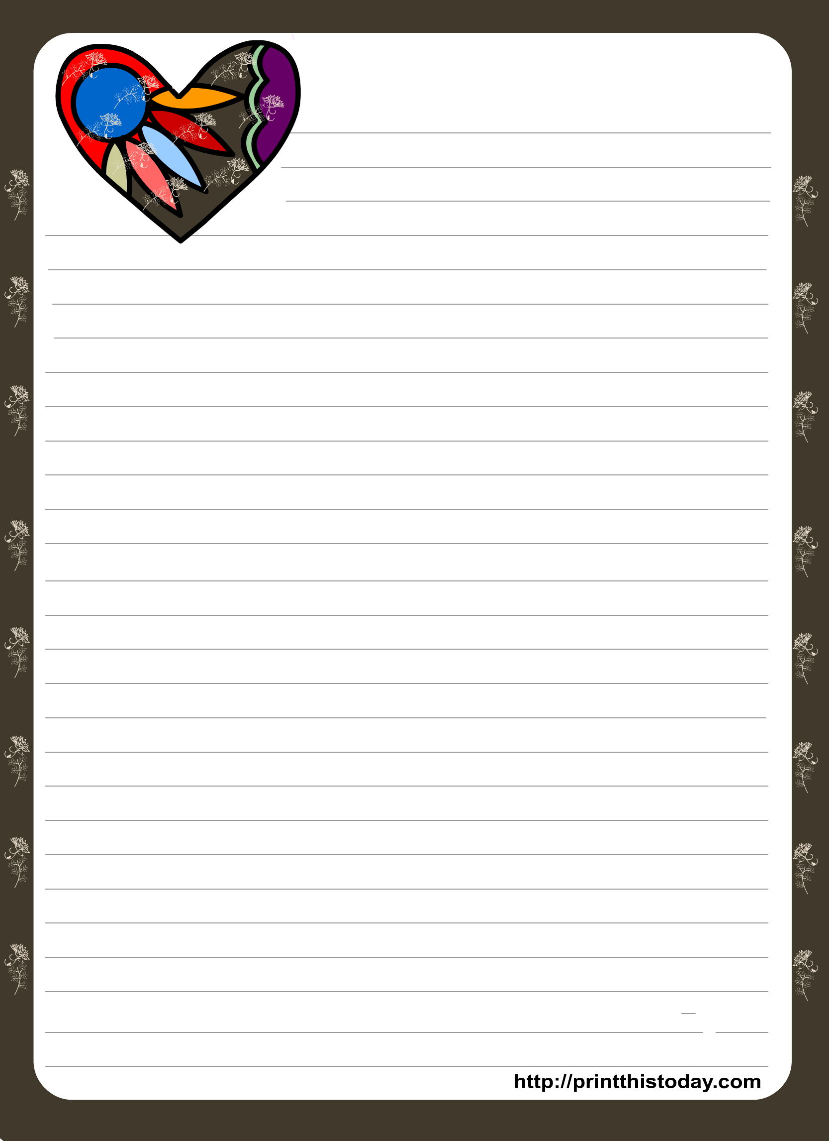 Love Letter Pad Stationery With Colorful Heart | Organization - Free Printable Lined Stationery