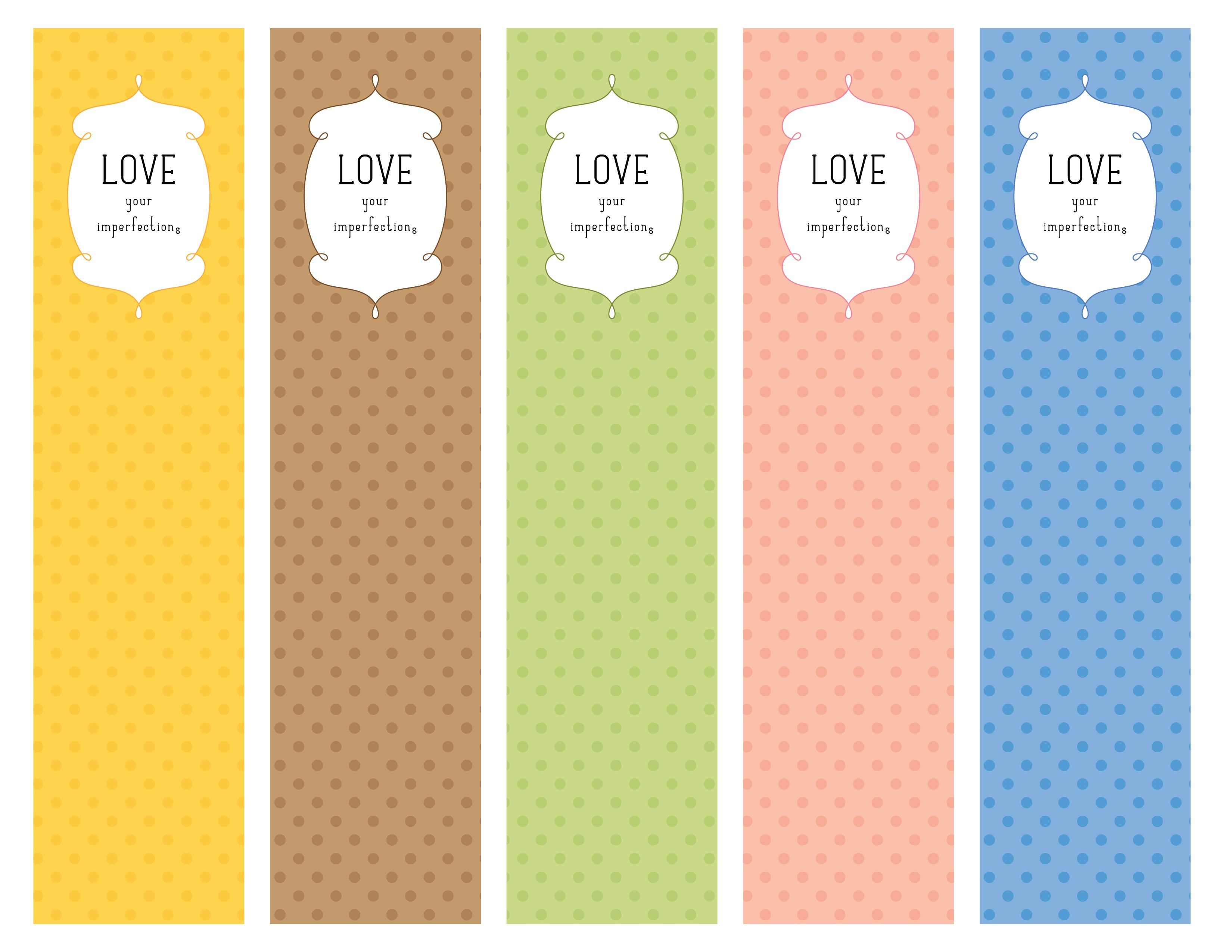 Love Your Imperfections Bookmarks (Pdf Printable) | My Graphic - Free Printable Bookmarks For Libraries