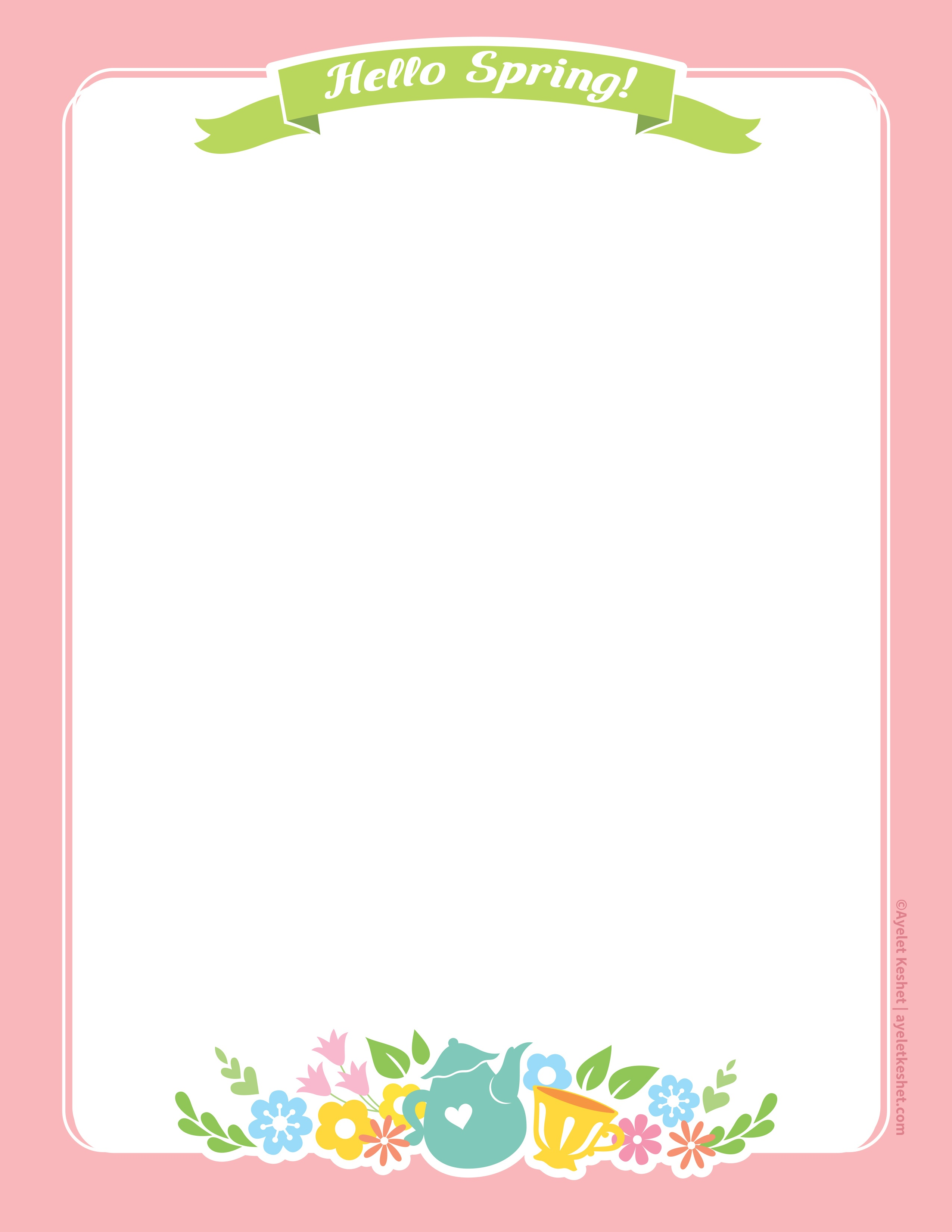Lovely Free Printable Stationery Paper For Spring - Ayelet Keshet - Free Printable Spring Stationery