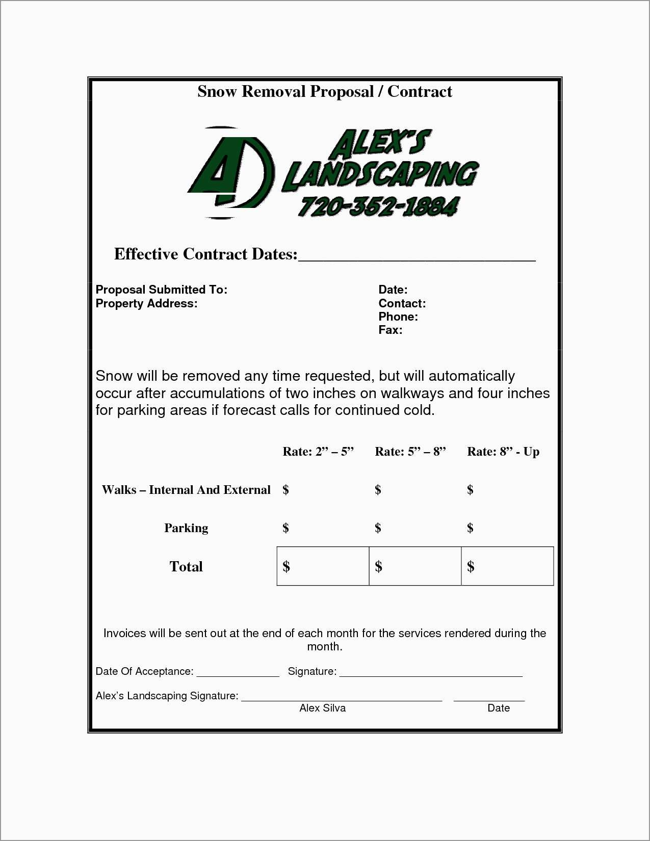 Lovely Free Snow Plowing Contracts Templates   Best Of Template - Free Printable Snow Removal Contract