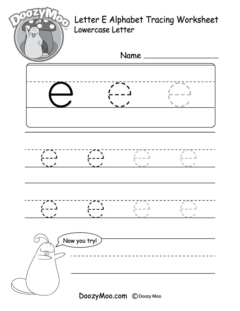 "Lowercase Letter ""e"" Tracing Worksheet - Doozy Moo - Free Printable Alphabet Tracing Worksheets For Kindergarten"
