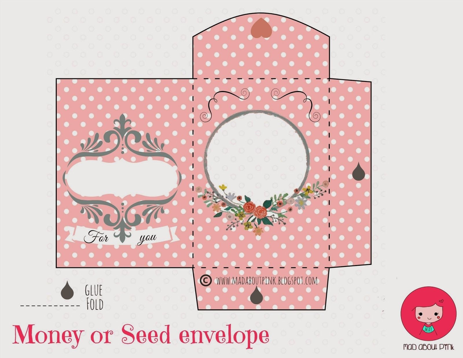 Mad About Pink: Freebie | Papercrafts | Printable Gift Cards, Money - Free Printable Gift Card Envelope Template