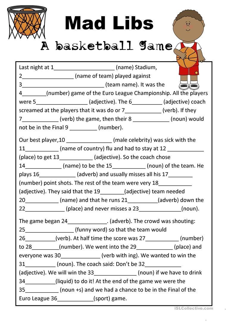 Mad Libs Basketball Game Worksheet - Free Esl Printable Worksheets - Free Printable Mad Libs