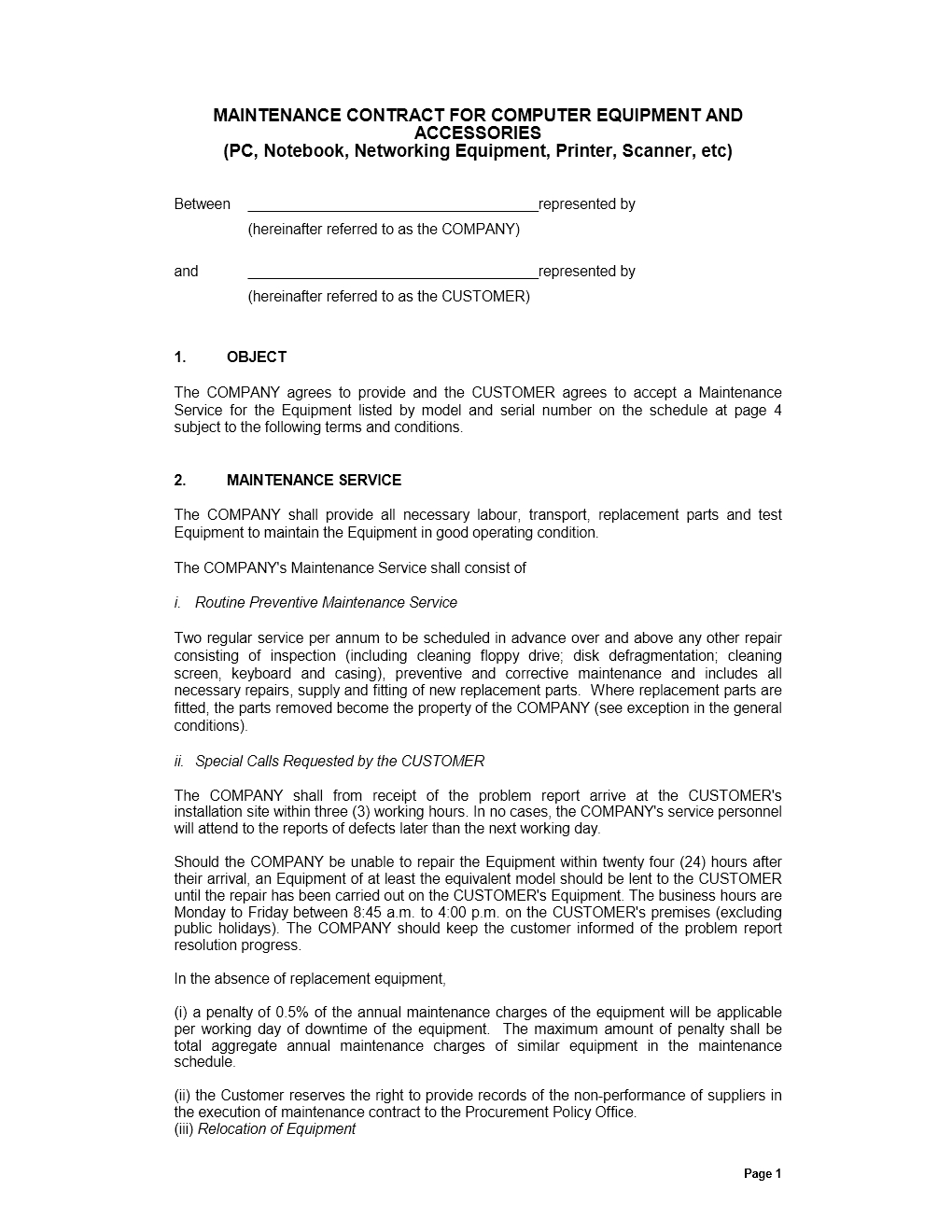 Maintenance Contract Is A Written Agreement That Contains Detail - Free Printable Snow Removal Contract