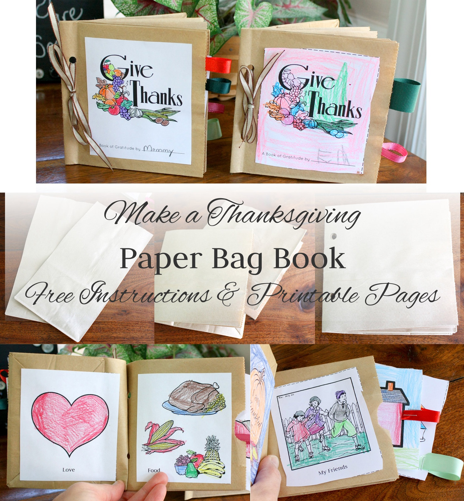 Make A Paper Bag Thanksgiving Book ~ Instructions And Free Printable - Free Printable Thanksgiving Books