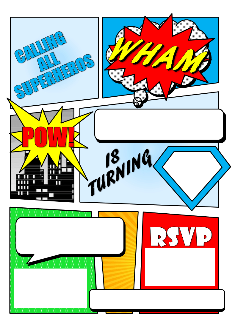 Make Your Own Comic Book Printable | Superhero Comic Book Party - Free Printable Superhero Birthday Invitation Templates