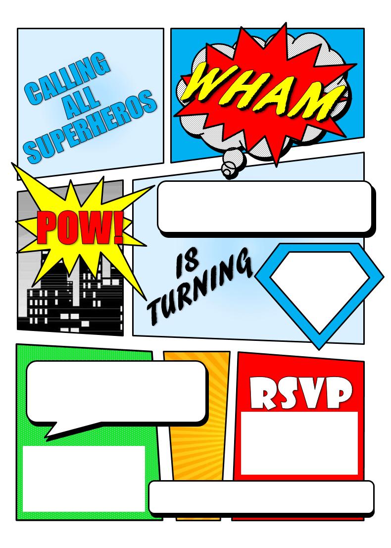 Make Your Own Comic Book Printable   Superhero Comic Book Party - Free Printable Superman Invitations
