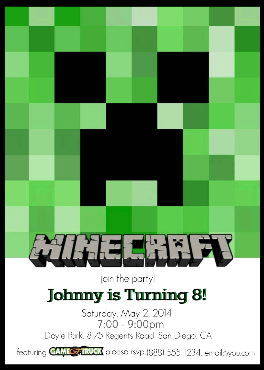 Make Your Own Custom Printable Minecraft Party Invitations - Printable Invitations Free No Download