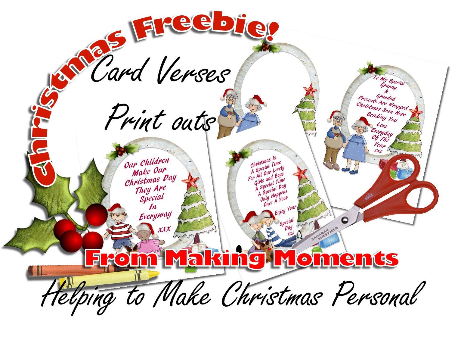 Making Moments » Christmas Card Verses – Freebies Print - Christmas Cards For Grandparents Free Printable