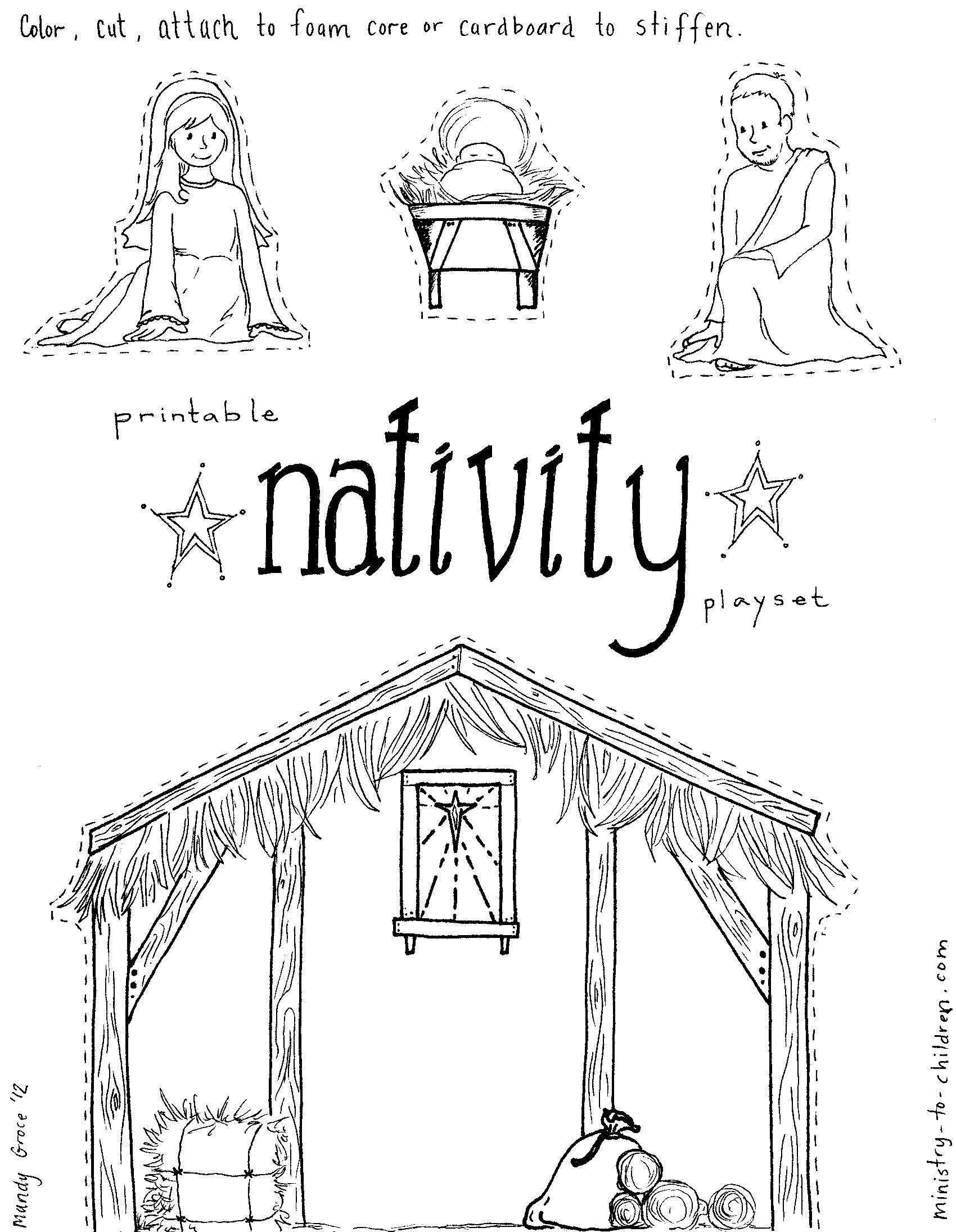 Manger Scene Coloring Page Free Pages Download Xsibe Within | Yard - Free Printable Christmas Story Coloring Pages