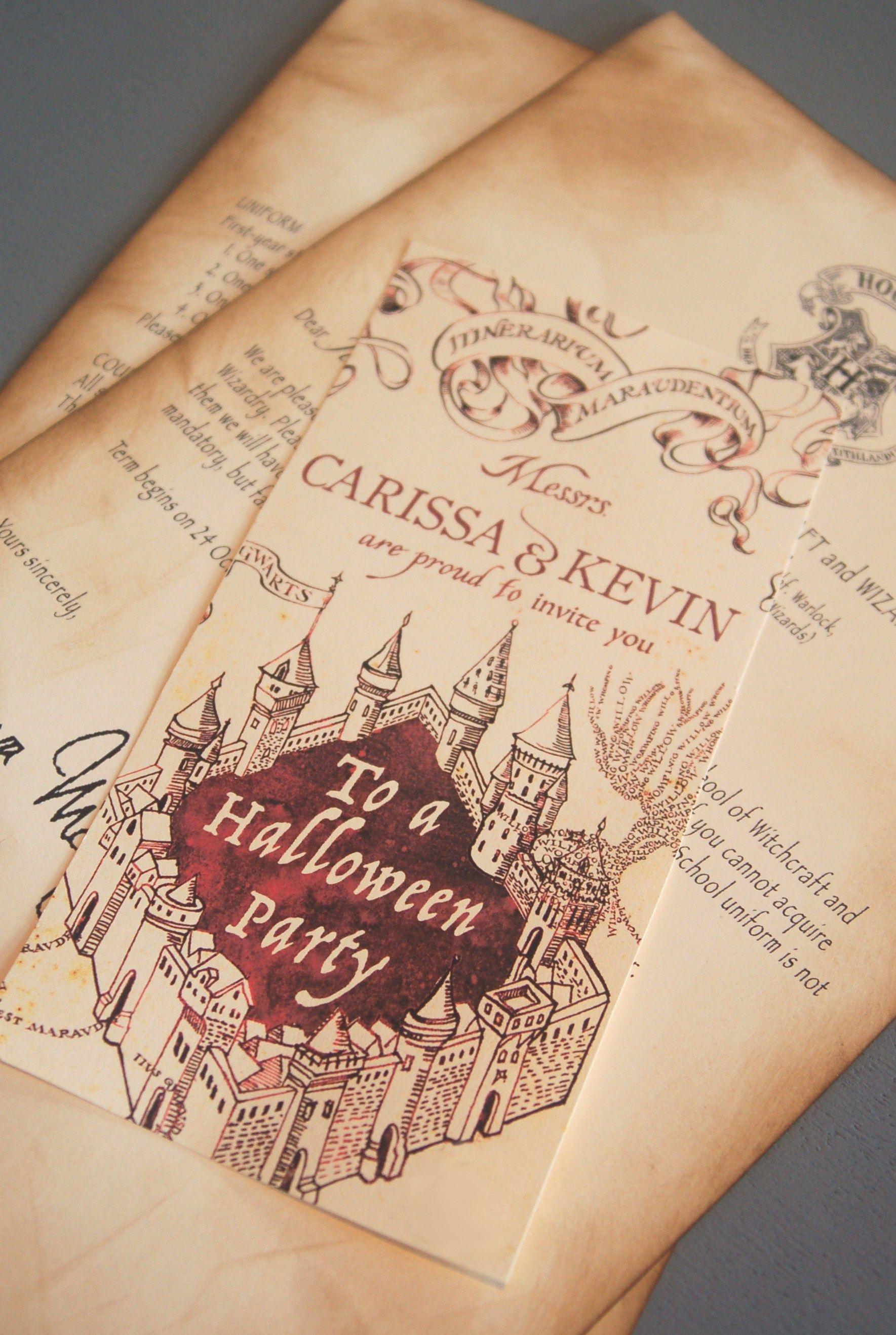 Marauder's Map Invitations | Birthday | Harry Potter Halloween Party - Free Printable Marauders Map