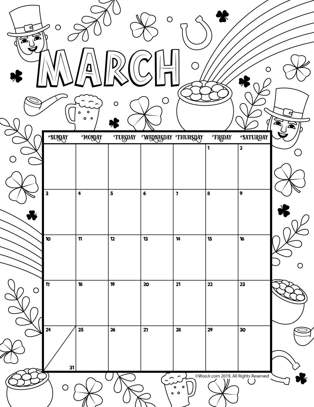March 2019 Coloring Calendar   Daycare Funcare!!   March Calendar - Free Printable March Activities
