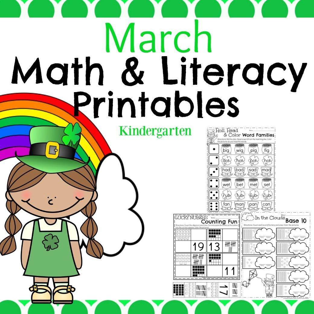 March Kindergarten Worksheets - Planning Playtime - Free Printable March Activities