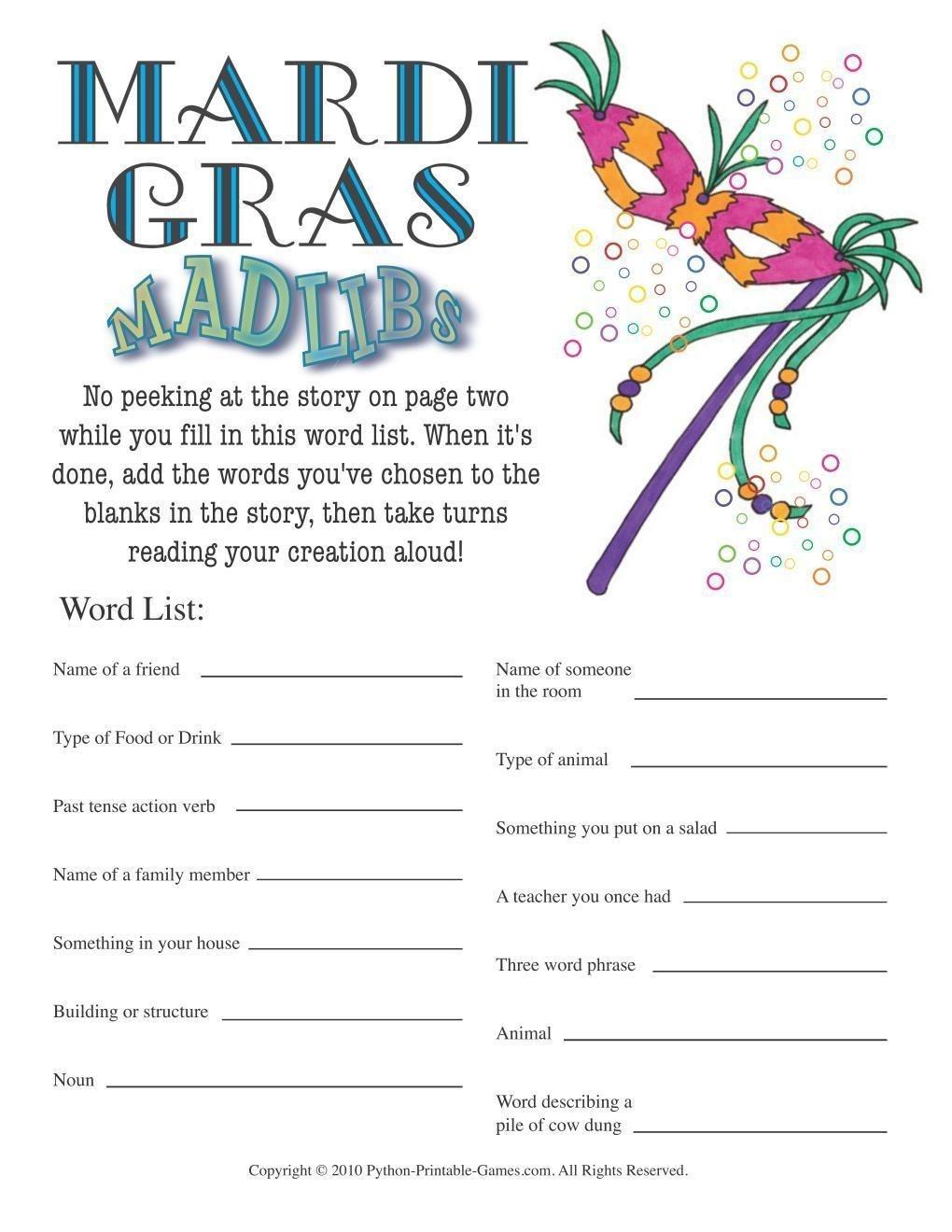 Mardi Gras: Mad Libs Game - Free Printable Mardi Gras Games