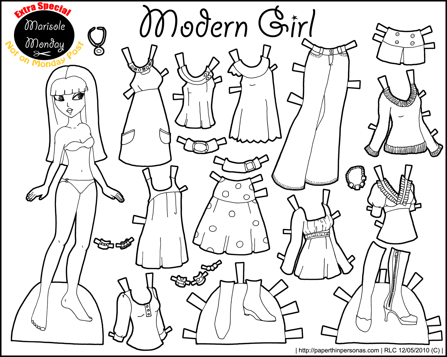 Marisole Monday: Modern Girl In Black & White   Coloring Pages - Printable Paper Dolls To Color Free