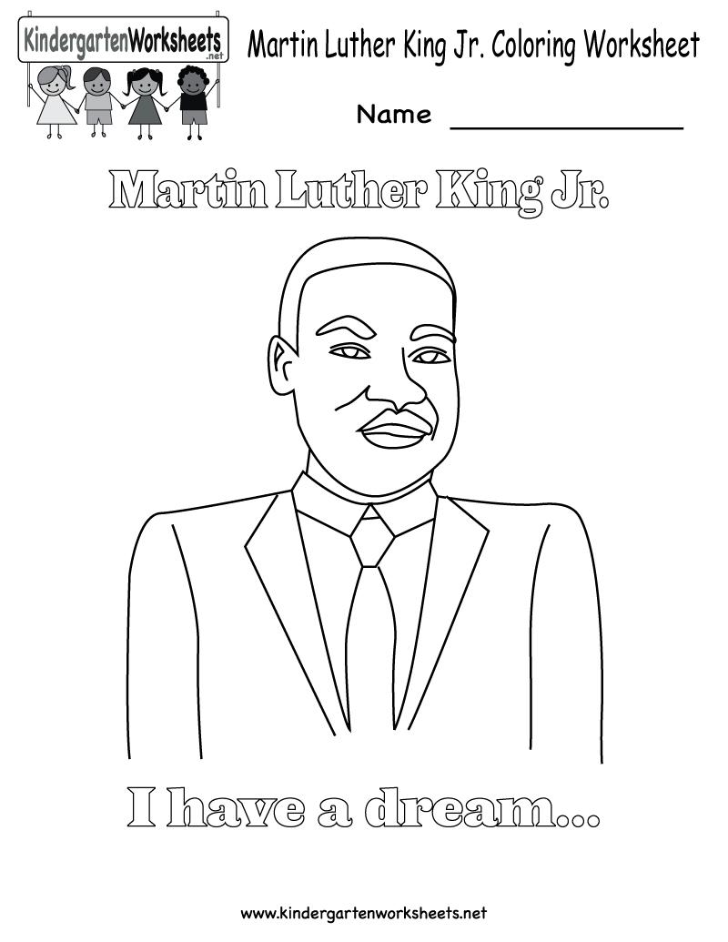 Martin Luther King Jr. Coloring Worksheet - Free Kindergarten - Free Printable Martin Luther King Jr Worksheets For Kindergarten