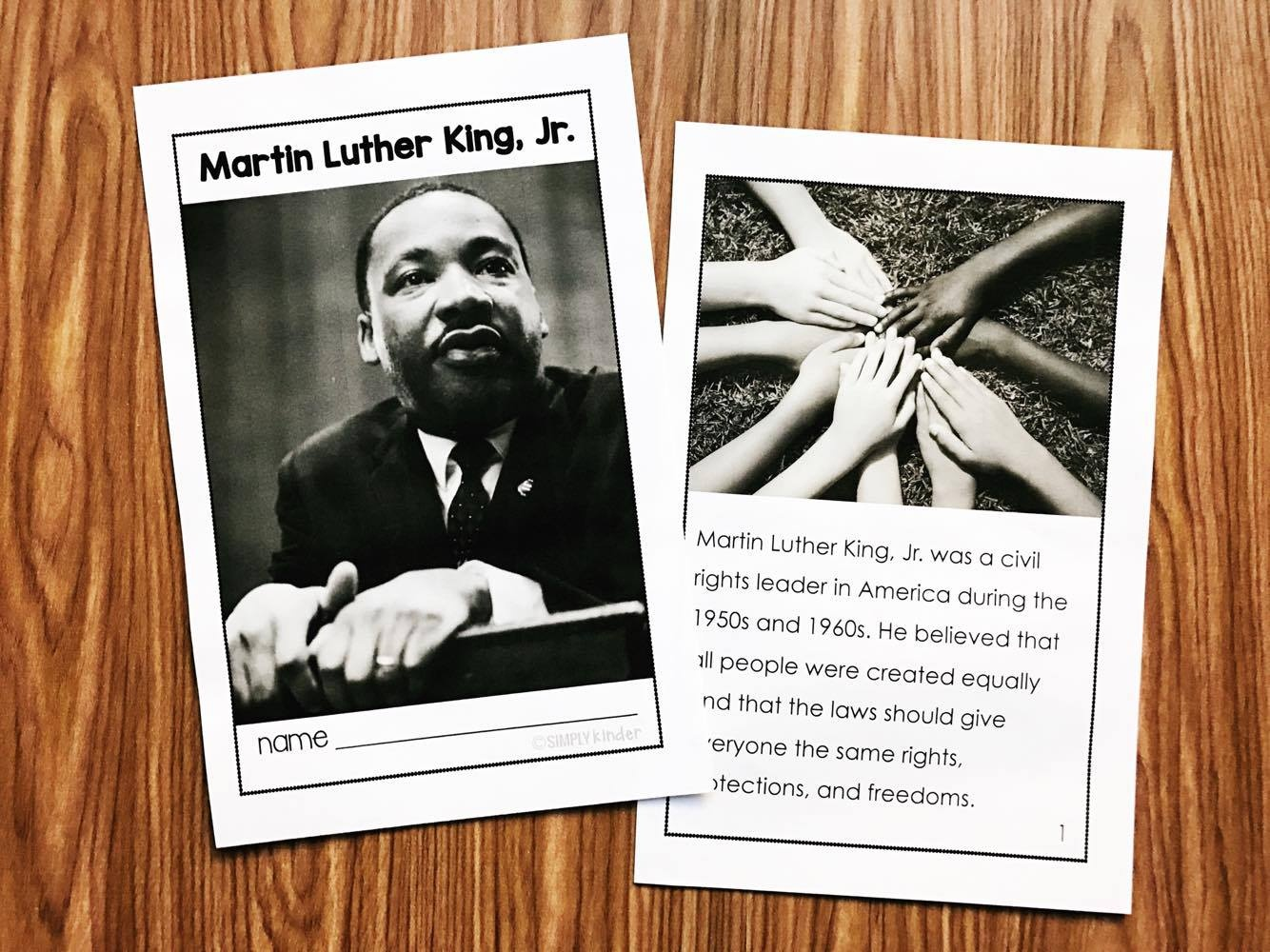 Martin Luther King Kindergarten Printables - Simply Kinder - Free Printable Martin Luther King Jr Worksheets For Kindergarten