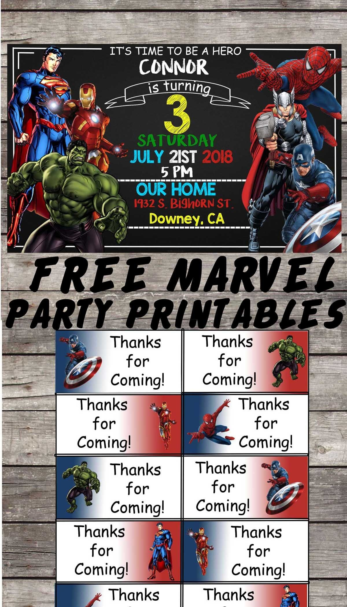 Marvel | Avengers | Birthday Party Printable Files | Invitations - Avengers Printable Invitations Free