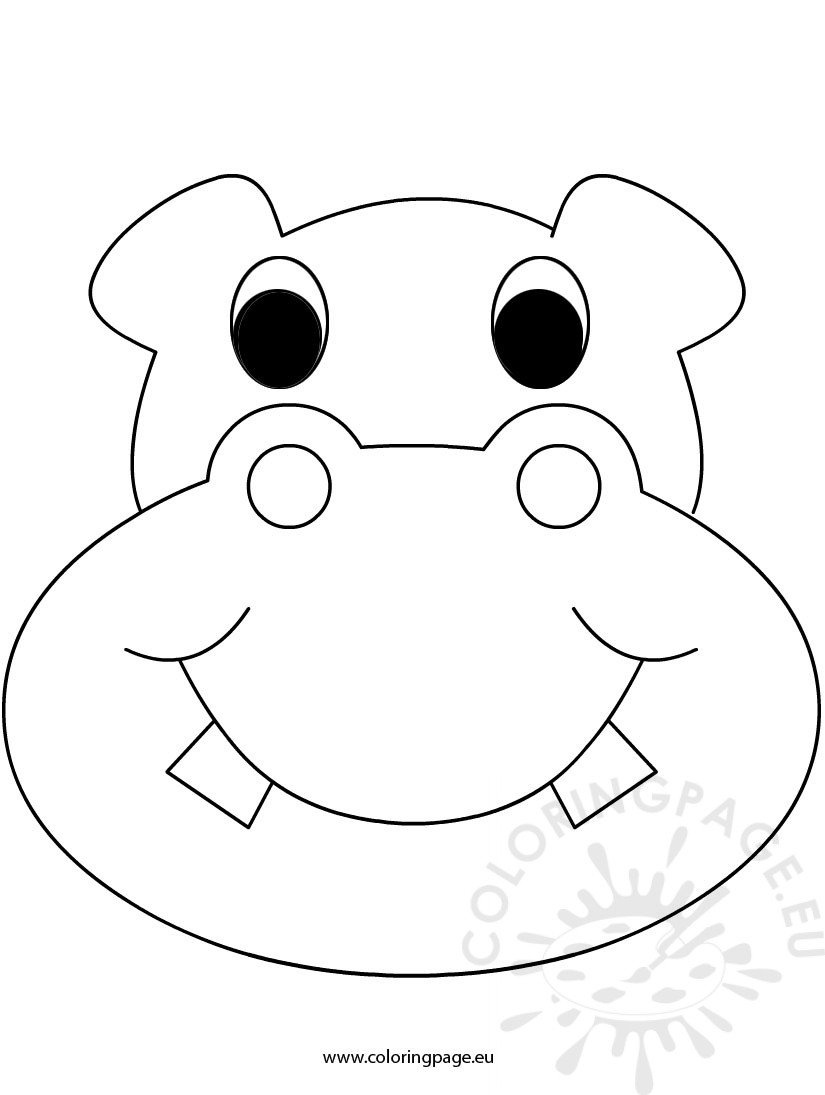 Mask Hippo – Coloring Page - Free Printable Hippo Mask