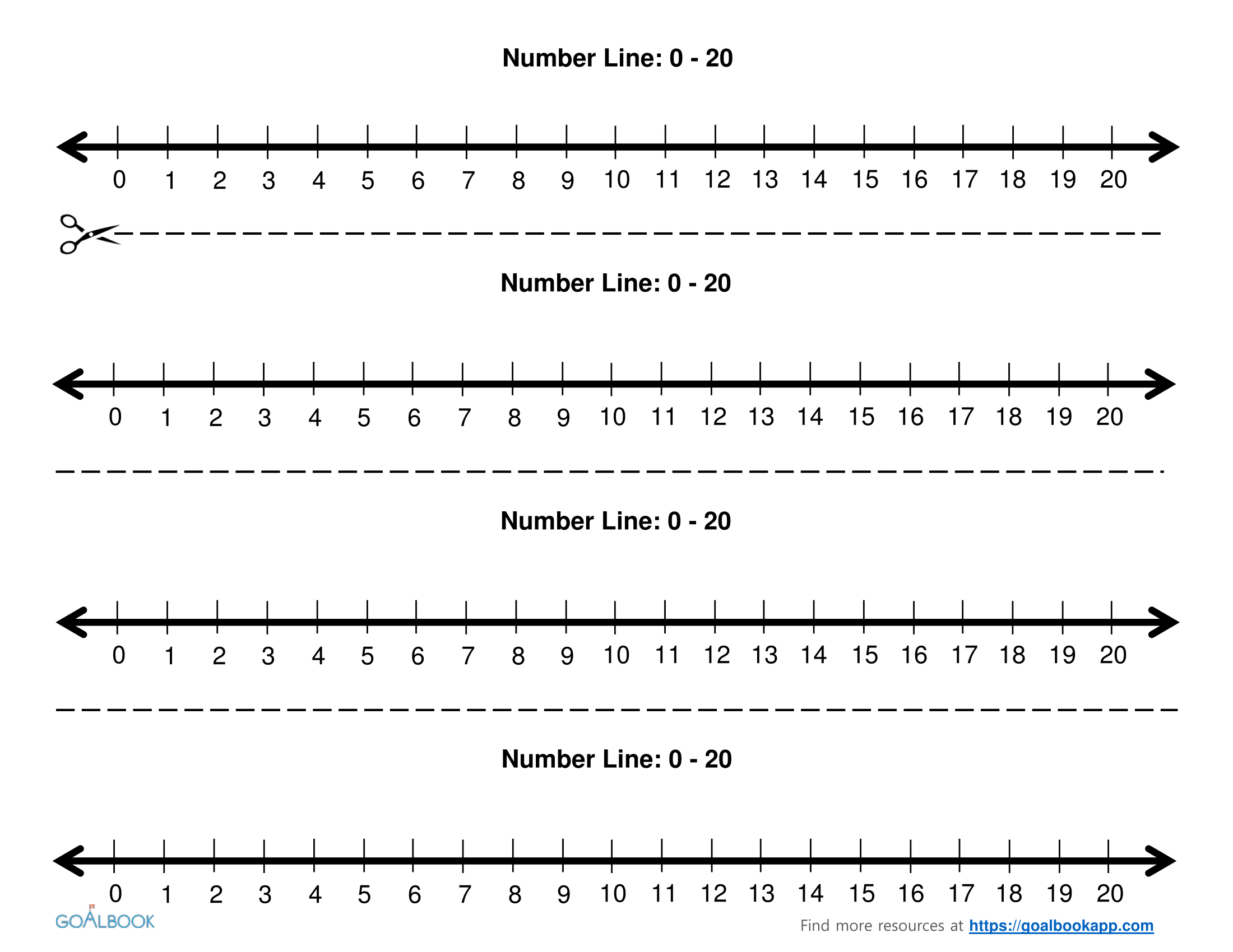 It is a graphic of Tactueux Number Line to 20 Printable