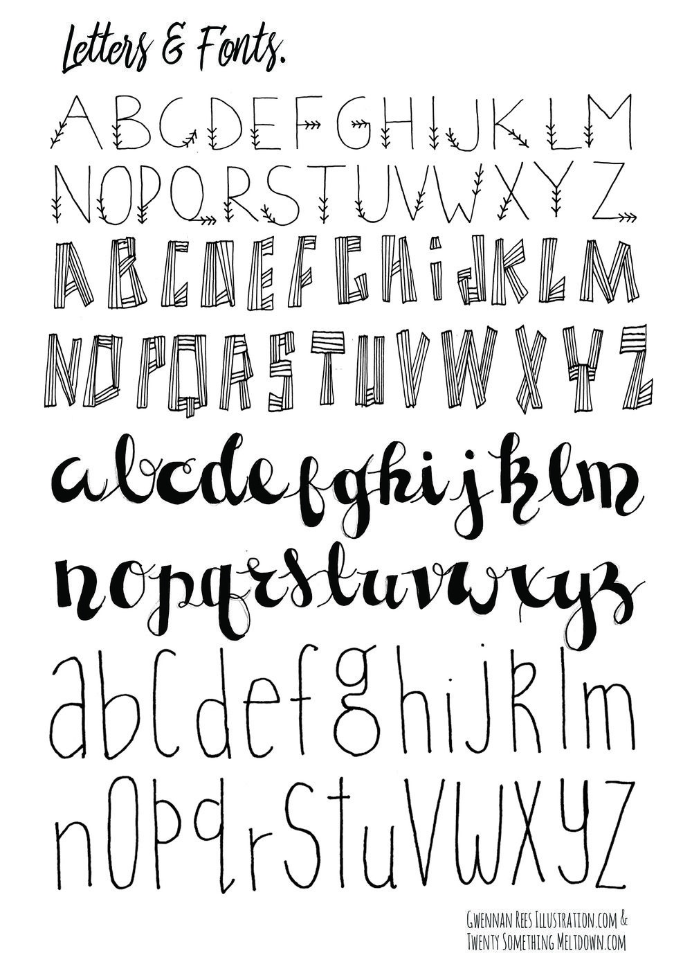 May 14 ***free*** Bullet Journal Printables.   Hand Lettering - Free Printable Fonts