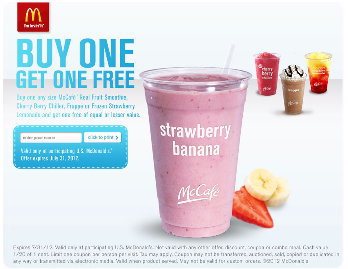 Mcdonald's Bogo Free Mccafe Printable Coupon + Rewards Card - Al - Free Mcdonalds Smoothie Printable Coupon