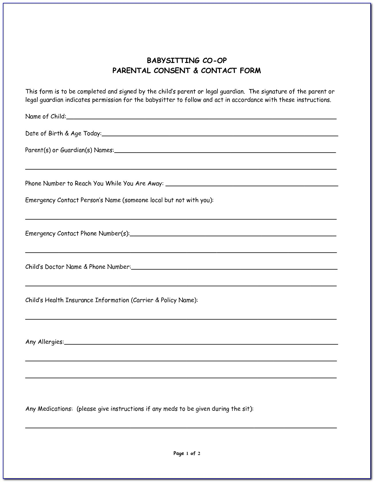 Medical Consent Form For Babysitter Printable - Form : Resume - Free Printable Child Medical Consent Form