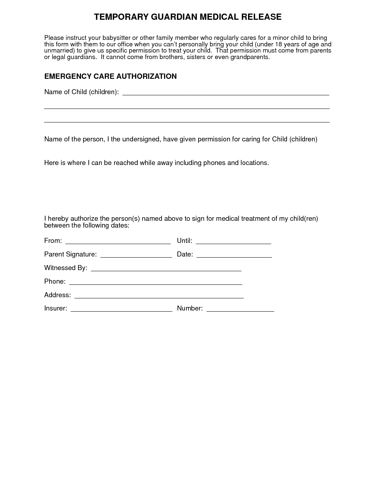 Medical+Authorization+Form+For+Grandparents | For More Medical - Free Printable Child Medical Consent Form