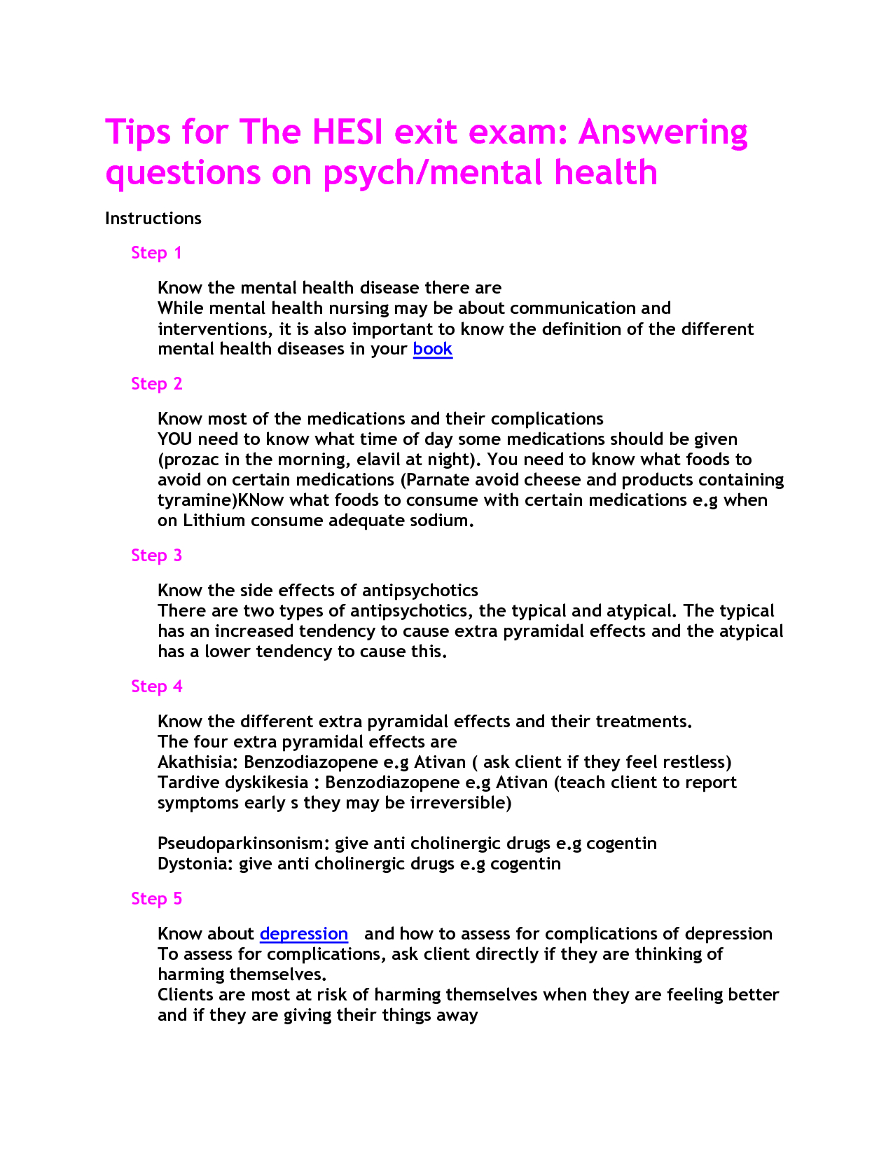 Mental Health Hesi Study Guide | School | Mental Health Nursing - Free Printable Hesi Study Guide