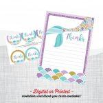 Mermaid Birthday Invitation In 2019 | Mermaid Party | Mermaid Party   Free Printable Mermaid Thank You Cards
