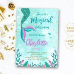Mermaid Invitation Editable Mermaid Tail Invitation Mermaid | Etsy   Free Printable Mermaid Thank You Cards