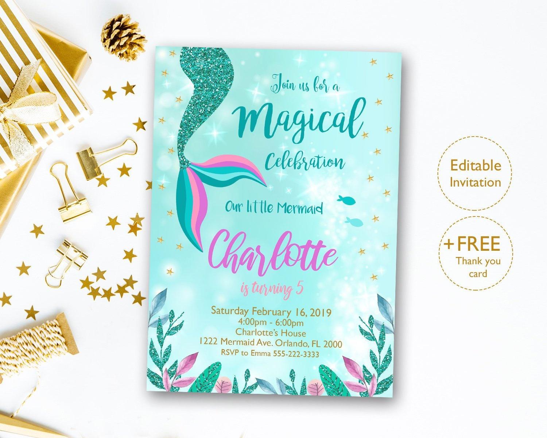 Mermaid Invitation Editable Mermaid Tail Invitation Mermaid   Etsy - Free Printable Mermaid Thank You Cards