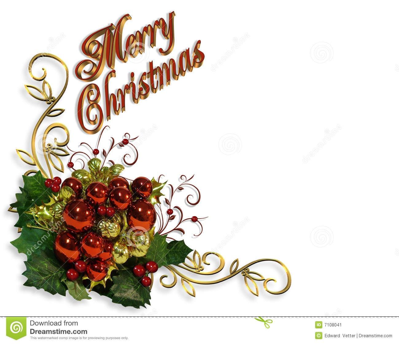 Merry Christmas Border Baubles Greeting Card Stock Illustration - Free Printable Christian Christmas Greeting Cards