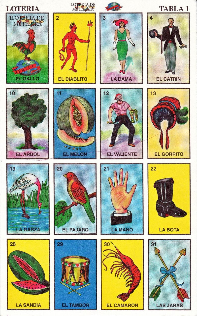 Mexican Loteria Cards The Complete Set Of 10 Tablas | Etsy - Loteria Printable Cards Free