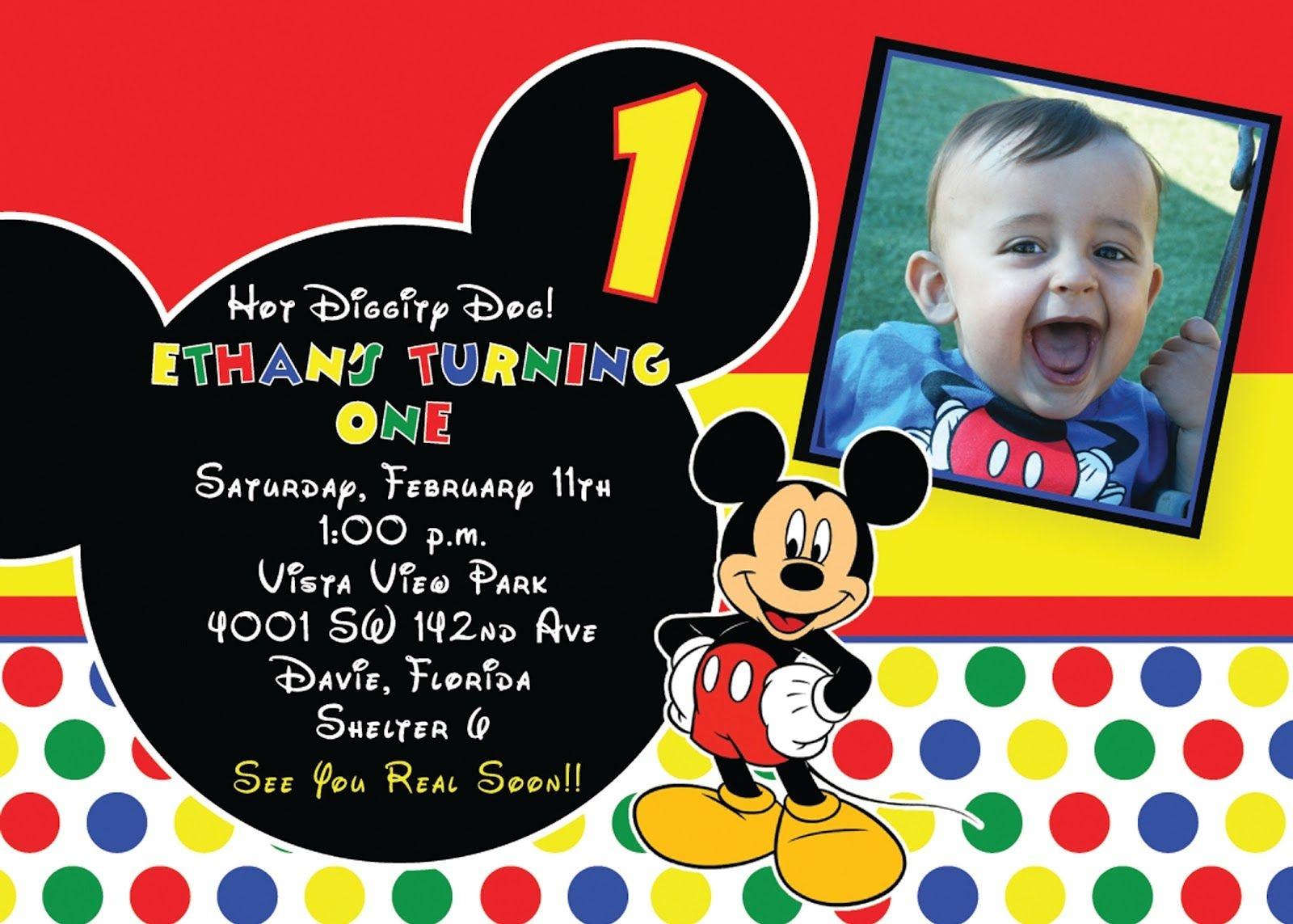 Mickey Mouse 1St Birthday Invitations Ideas | Free Printable - Free Printable Mickey Mouse 1St Birthday Invitations