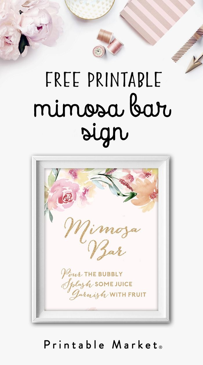Mimosa Bar Free Watercolor Flowers Printable | Bridal Shower Games - Free Printable Mimosa Bar Sign
