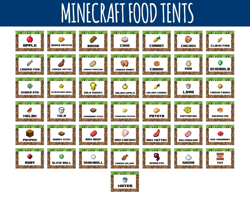 Minecraft Food Labels - Minecraft Food Tents -Littlelight On - Free Printable Minecraft Food Labels