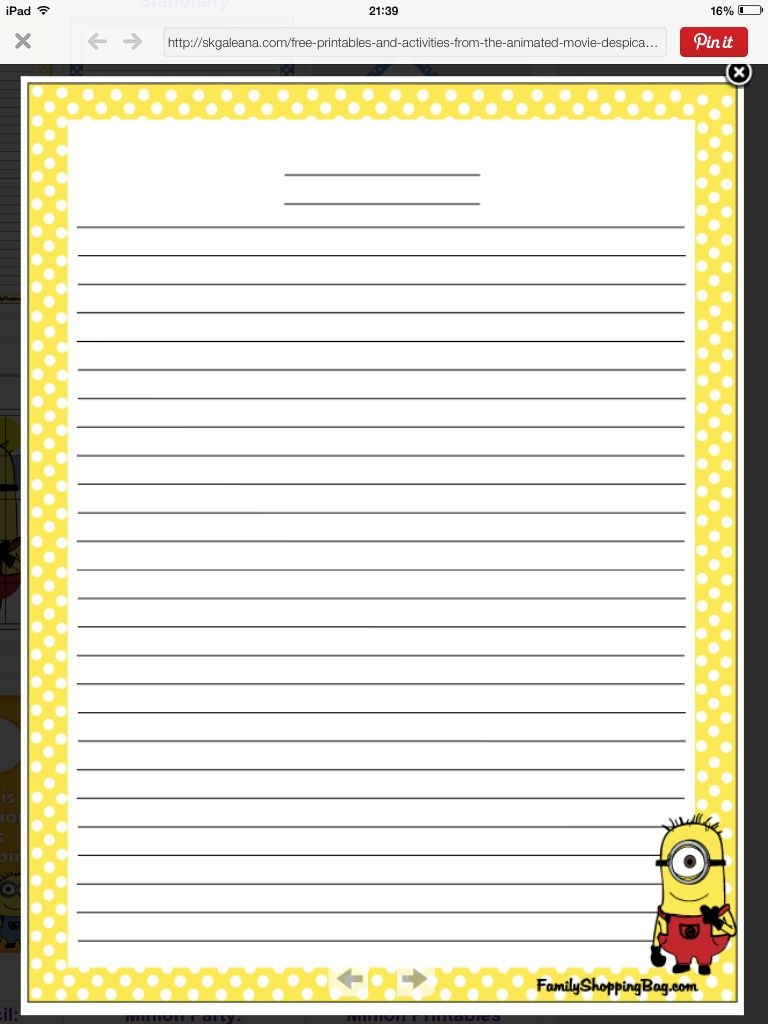 Minion Writing Paper | Education | Stationary Printable, Writing - Free Printable Golf Stationary