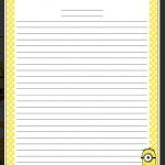 Minion Writing Paper | Education | Stationary Printable, Writing   Free Printable Writing Paper With Borders