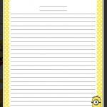 Minion Writing Paper | Education | Stationary Printable, Writing   Free Printable Writing Paper With Borders