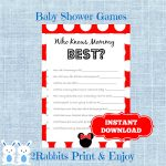 Minnie Mouse Baby Shower Game Who Knows Mommy Best Disney | Etsy   Free Printable Mickey Mouse Baby Shower Games