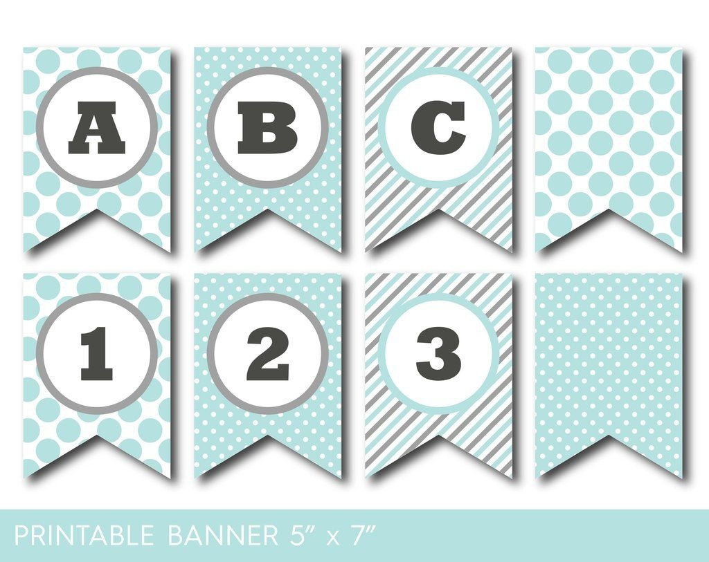 Mint And Grey Banner, Party Banner, Birthday Banner, Baby Shower - Free Printable Baby Shower Banner Letters