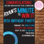 Minute To Win It Printable Birthday Invitation | Party Games | Party   Free Printable Minute To Win It Invitations