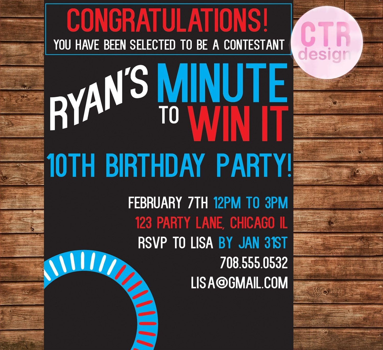 Minute To Win It Printable Birthday Invitation | Party Games | Party - Free Printable Minute To Win It Invitations