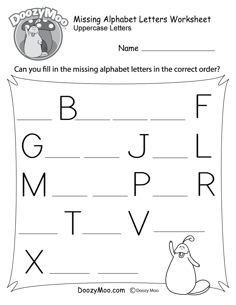 Missing Alphabet Letters Worksheet (Free Printable) - Doozy Moo - Free Printable Alphabet Letters