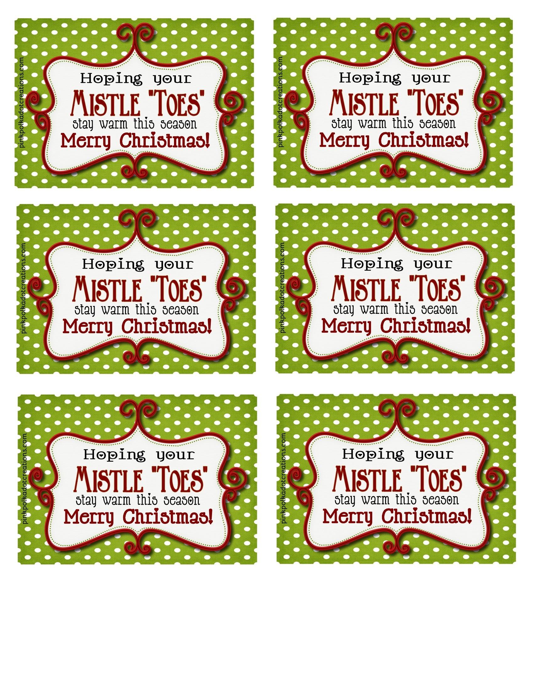 "Mistle""toes"" Gift Idea - Pink Polka Dot Creations - Free Printable Mistletoe Tags"
