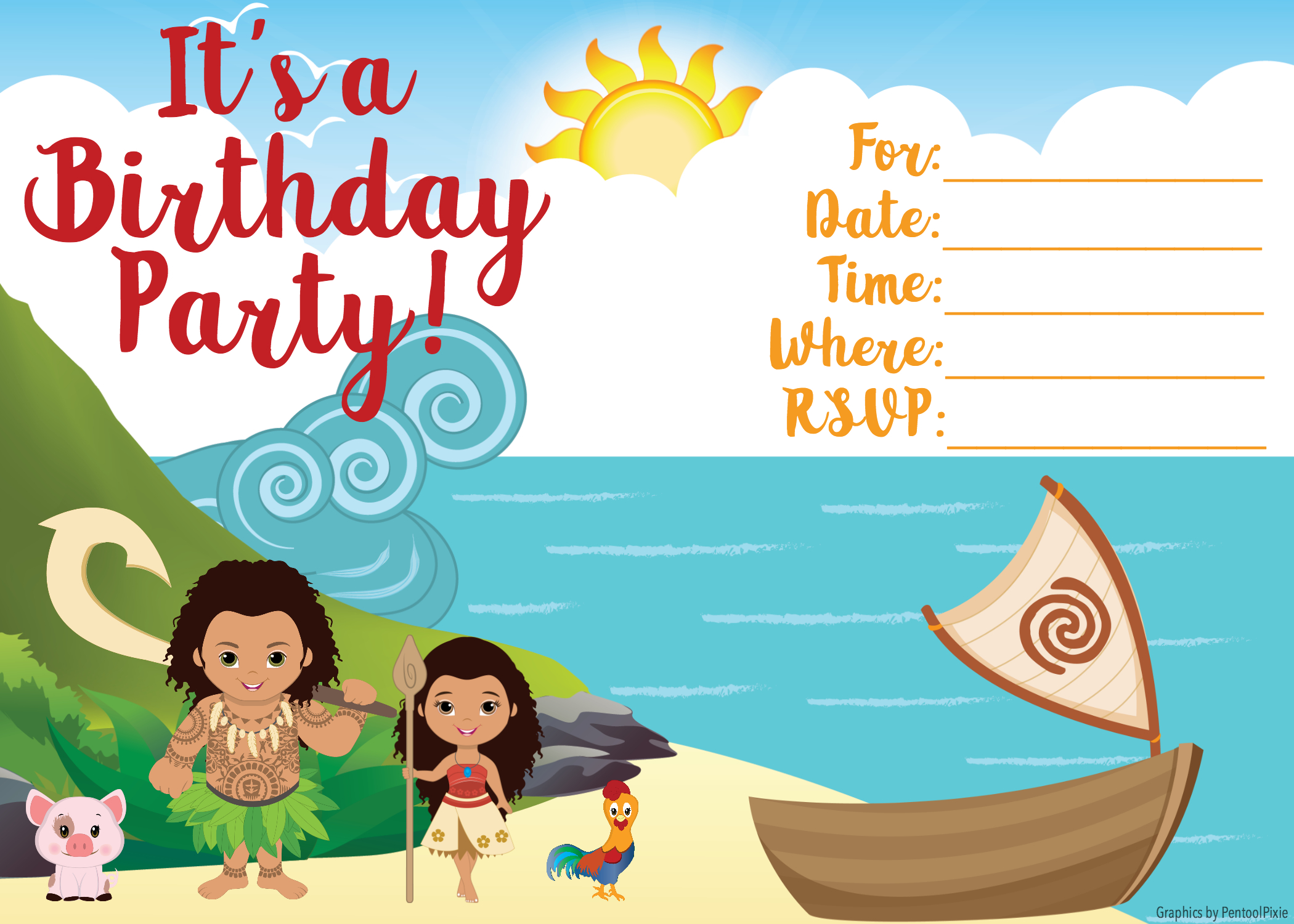 Moana Invitation - Free Printable Moana Birthday Invitations - Viva - Free Printable Moana Birthday Invitations