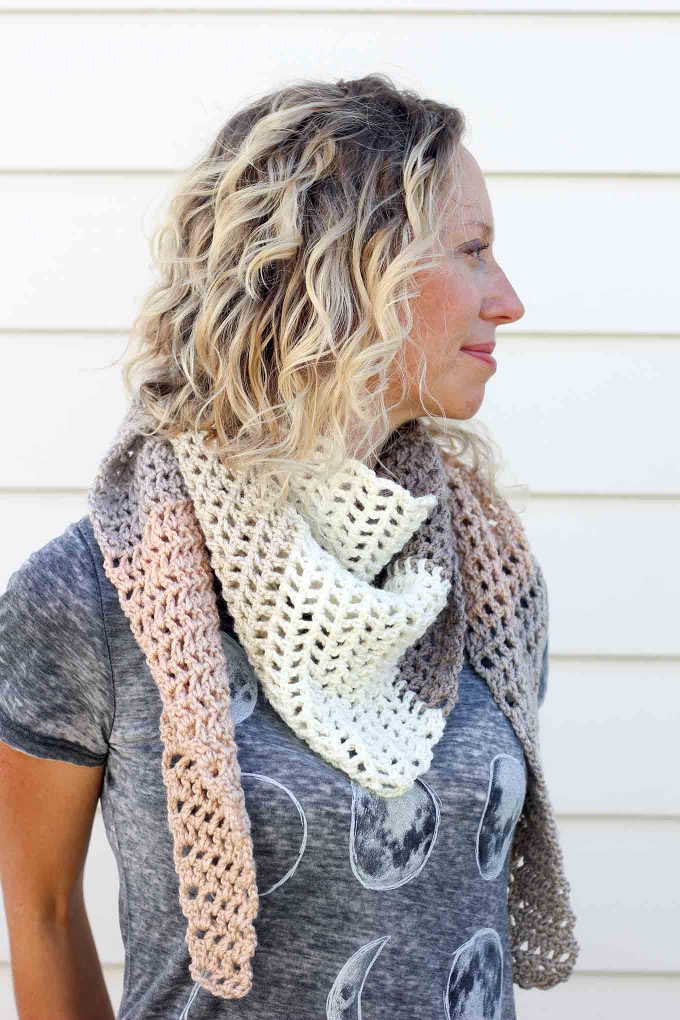 Modern, Free Lion Brand Mandala Crochet Scarf Pattern - Free Printable Crochet Scarf Patterns