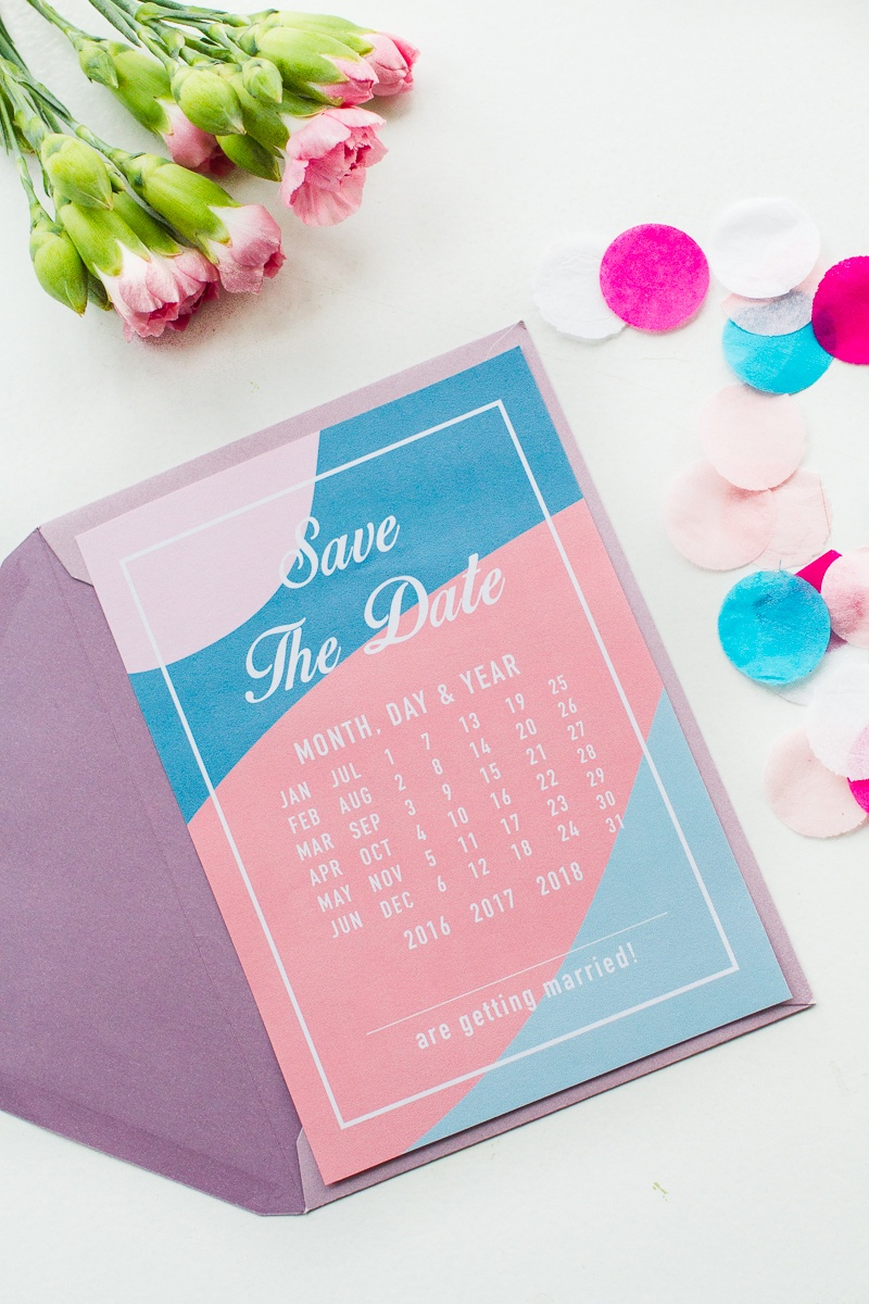 Modern Free Printable Save The Dates In A Blue And Pink Colour - Free Printable Save The Date
